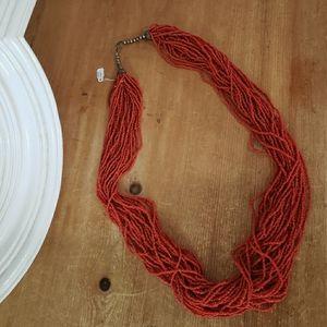 Coral Boho Beaded Necklace NWT
